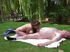 Blonde, Blowjob, Old and Young, Outdoor, Teen