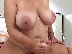 Cumshot, Mature, Handjob, MILF, Big Nipples