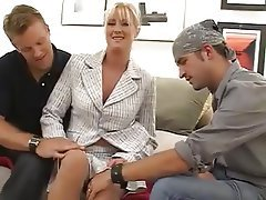 Big Boobs, Blonde, MILF, Old and Young, Threesome